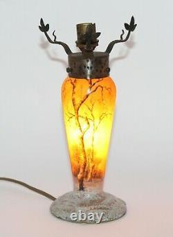 Daum Nancy Art Nouveau France Cameo Lamp Base Pate De Verre Luxury Art Glass