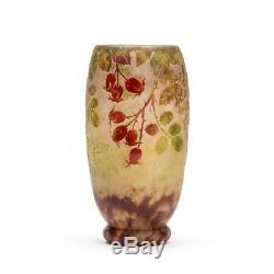 Daum Nancy Art Nouveau Rosehip Cameo Glass Vase C. 1900