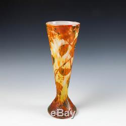 Daum Nancy Autumn Leavea Cameo Glass Vase c1910