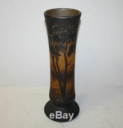 Daum Nancy Cameo Art Glass Landscape Theme Vase 15 1/2H
