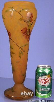 Daum Nancy Cameo French Art Nouveau 14 Floral Yellow Glass Etched Colored Vase