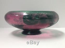 Daum Nancy Cameo Glass Bowl Martele'd Suface. Signed. Antique France Original