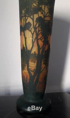 Daum Nancy Cameo Glass Landscape Big Vase