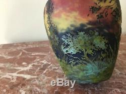 Daum Nancy Cameo Glass Scenic Forest Vase on Mottled Background Signed