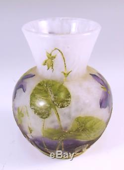 Daum Nancy Cameo Glass Violets Vase