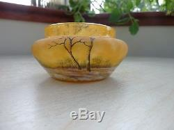 Daum Nancy Cameo Glass snow coverd trees winter scene vase