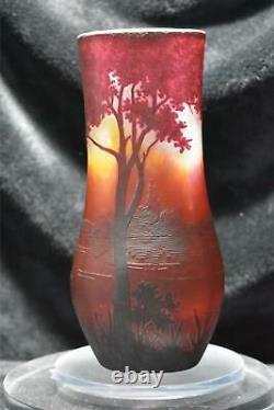 Daum Nancy Cameo Vase Etched Sunset Lake Scene 8.5