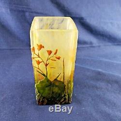 Daum Nancy Cameo and Enamel Glass Vase withLeaves & Flowers Circa 1910 Rare Exc
