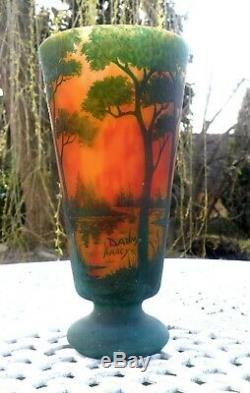 Daum Nancy, Fabulous Large Vase Cameo Decor stunning colors
