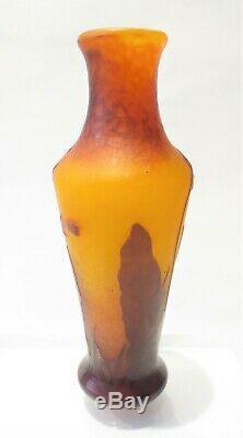 Daum Nancy French Art Deco Nouveau Cameo Trumpet Flower 6.5 Glass Vase