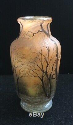 Daum Nancy Miniature Cabinet Vase 3 3/4 Tall Cameo Glass Trees Design Signed