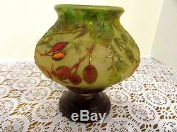 Daum Nancy Signed Cameo Glass Footed Vase Heavy Beautiful