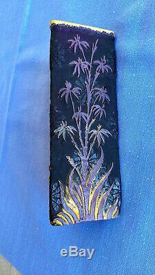 Daum Nancy Vase, purple withgold, Cameo, enameling, 7 1/2, art deco, 1910s
