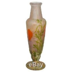 Daum Nancy Wheel-Carved Cameo Glass Vase with applied flowers, France
