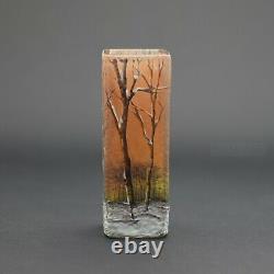 Daum enameled cameo glass winter scene vase