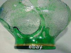 Dorflinger Honesdale American Art Nouveau Green Cameo Glass Vase