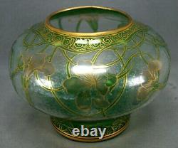 Dorflinger Honesdale Green Yellow Nasturtium Flower Iridescent Cameo Glass Vase