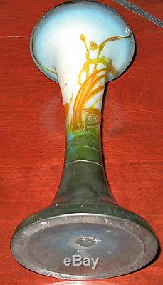 EMILE GALLE SIGNED ACID ETCHED Double Overlay CAMEO GLASS VASE 1880'S 13 H