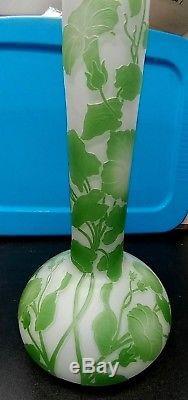 Early 1900's Art Nouveau 14 Cameo Vase Cristallerie De Pantin France Art Glass