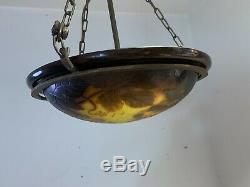Early 20th Century Dargental French Cameo Art Glass Hanging Light Fixture