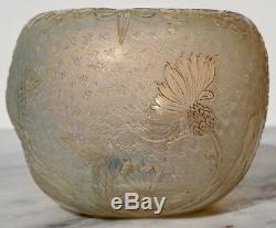 Early Daum Nancy Opalescent Carved Cameo Round Vase