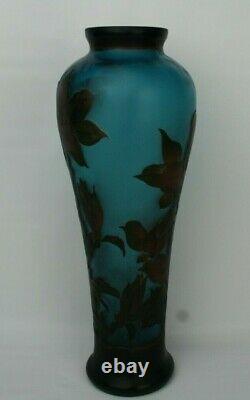 Emile GALLE Signed 14 Vase Art Nouveau Blue CAMEO GLASS Acid Etched Embossed