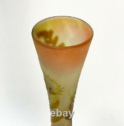 Emile Galle Cameo Brown on Yellow and Pink Vase, Fern Leaves, c1890