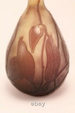 Emile Galle Cameo Frosted Glass Leaves and Vines Miniature Vase 6 3/4