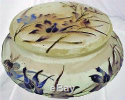 Emile Galle Cameo Glass Box Enamel Bee Flower Signed French Art Glass (3149)