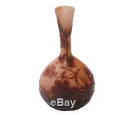 Emile Galle Cameo Glass Vase Original Art Nouveau Pink Coral Vintage