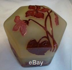 Emile Galle Etched Cameo Glass Power Jar / Box CIRCA 1910 LIDDED BOX