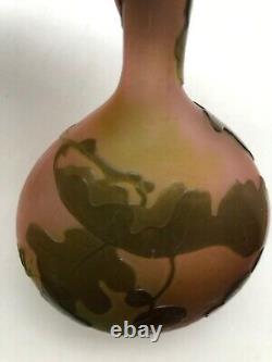Emile Galle French Art Nouveau 3-Color Cameo Banjo Vase 6 1/2 1920's Oak/Acorn