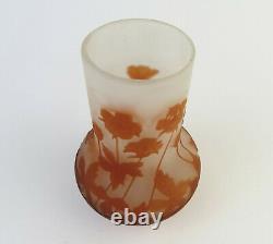Emile Galle French cameo glass art vase orange poppy leaf design 4 1/2 inches