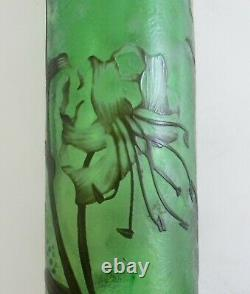 Emile Galle French cameo glass pitcher in green with iris decoration