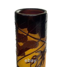 Emile Galle Nancy Cameo Orange to Amethyst Vase with Orchids, 23.5 circa 1890