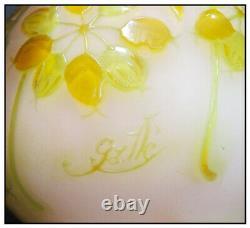 Emile Galle Original Color French Cameo Glass Flower Bud Vase Signed Antique SBO