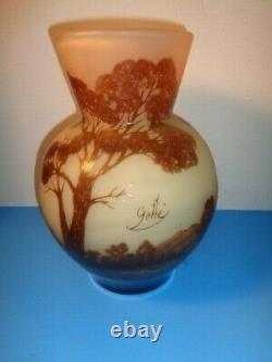 Emile Galle Signed Scenic Landscape French Art Nouveau Cameo Vase (12 by 7)