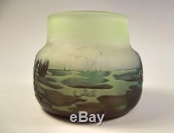 Emile Galle Three Colour Aquatic Cameo Glass Vase