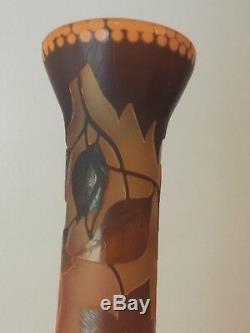Emile Galle cameo tall vase signed Amber/Brown/orange color great condition
