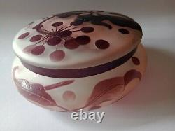 Emille Galle Cameo Glass Lidded Bowl 1920s