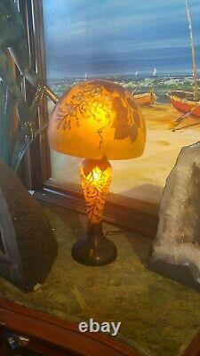 Exceptional Vintage Etched French Galle Cameo Art Glass Lamp