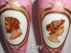 Exquisite Antique 19th Pair Moser Bohemian pink glass vases cameo portrait