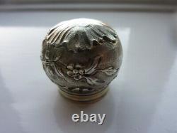 Exquisite Art Nouveau Daum Nancy Cameo Glass HM Silver Flacon Antique
