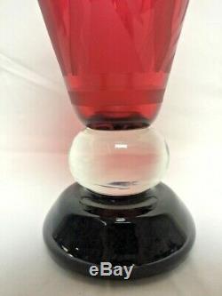 Exquisite Limited Edition Steven Correia Tulip Red Cameo Art Glass Vase 12/200