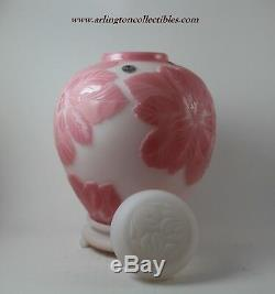 FENTON Cameo Sand Carved KELSEY/BOMKAMP Rosalene Poinsettia GINGER JAR #14/450