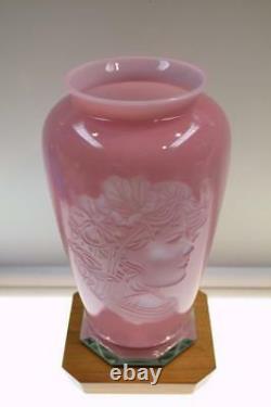 FENTON VASE Rose Quartz Sculptured Sand Carved LADY 7661LJ #d FREEusaSHIP