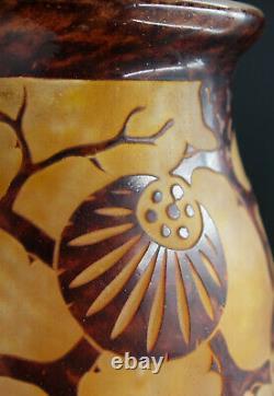 FRENCH ART DECO Charles Schneider Le Verre Francais Glass Cameo Vase Epinettes