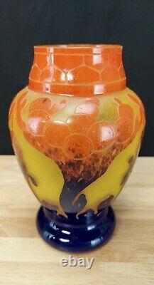 FRENCH Charles Schneider Art Nouveau Le Verre Francais Glass Cameo Vase