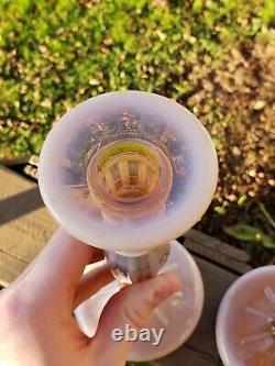 Fenton 232 Cameo Opalescent Candlesticks RARE