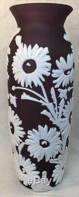 Fenton Art Glass Cameo Carved Aubergine Cased In Milk Vase Sunflower 10 Of 40